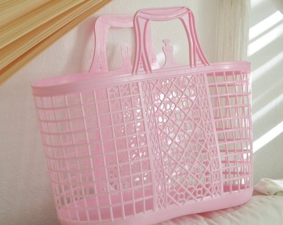DDR hard plastic bag pink pink large mesh handle bag