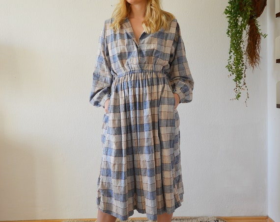 Vintage Clothing Midi Dress Plaid S/Meter