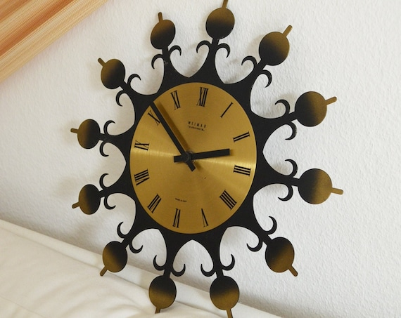 Made in GDR Vintage Wall Clock by Weimar Electronics Brass Metal DDR Watch Analog