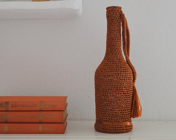 Mid century vase macrame rattan straw bottle crocheted rust red orange handmade
