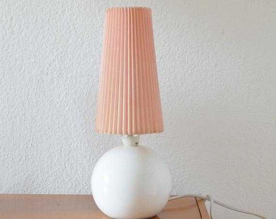 60s table lamp ceramic white pink