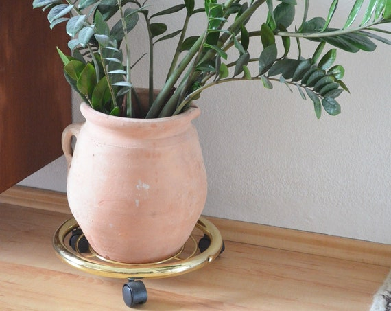 Plant roller plant stand gold brass plant stand vintage