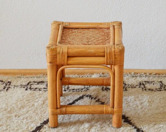 Vintage bamboo & rattan table side table stool boho bohemian home wicker bamboo
