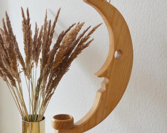 Vintage Hanging Candlestick Moon Wood Tea Light Holder