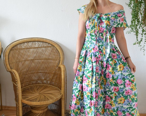 Vintage Clothing - Size M-L / 1950s Floral Dress Cotton White Pink Green Yellow