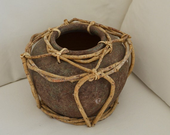 Vintage boho vase flower pot terracotta wood brown rattan bohemian clay handmade
