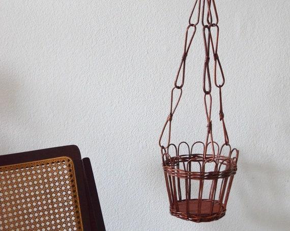 Vintage rattan flower light hanging plant pot Wicker hanging planter plants