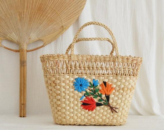 Vintage Straw Bag Embroidered Flowers Handbag Basket Boho Summer