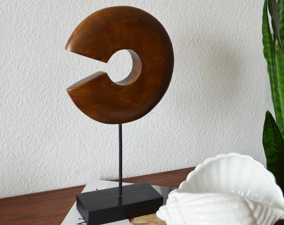 Wooden figurine circle boho decoration