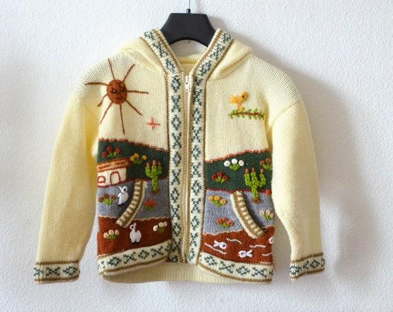 Handmade kids cardigan cardigan cream white boho sun llama cactus village knit