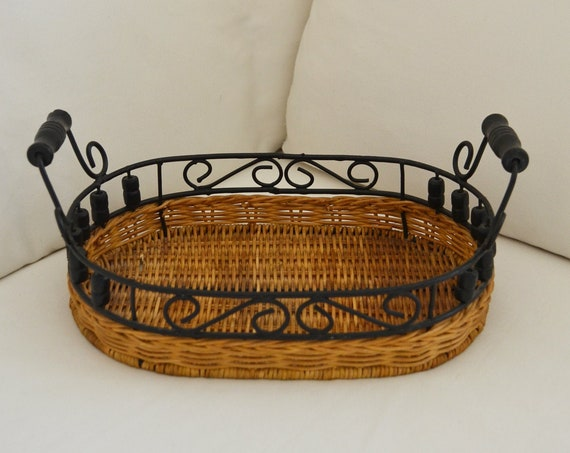 Boho rattan tray vintage tray bohemian wicker round home decor basket