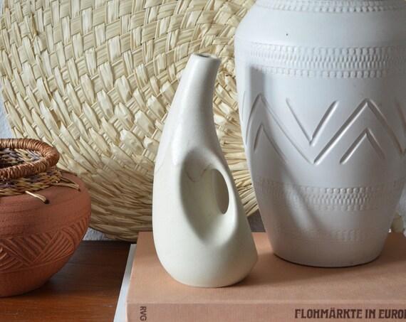 Mid century vase beige handmade with hole