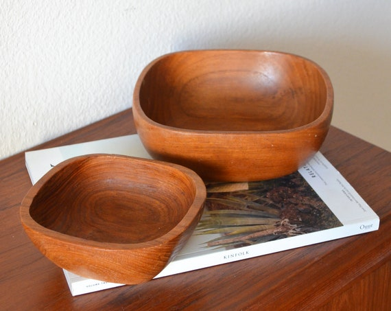 Mid Century Wooden Bowls Set Teak