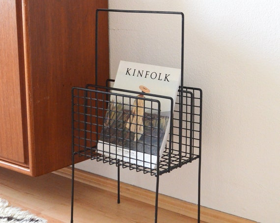 Mid Century newspaper stand black wire