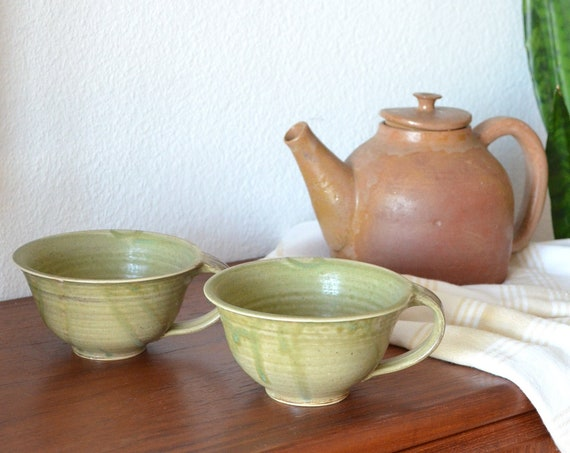 Set of two large vintage cups green handmade pottery earthenware