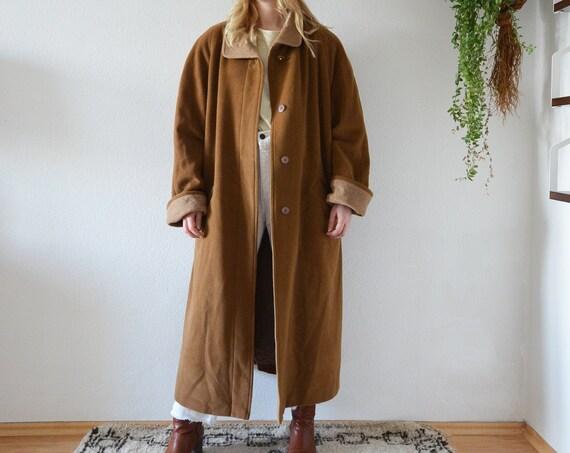 Vintage coat Angora & wool fleece jacket black camel brown beige S - M