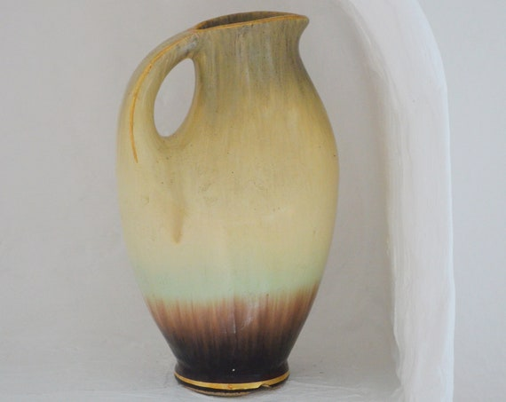 Mid century vase with hole beige brown handmade round