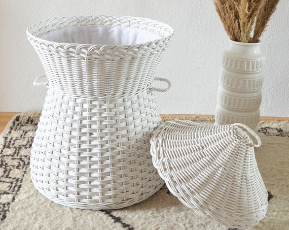 Vintage Rattan Laundry Basket White Wicker laundry basket white boho