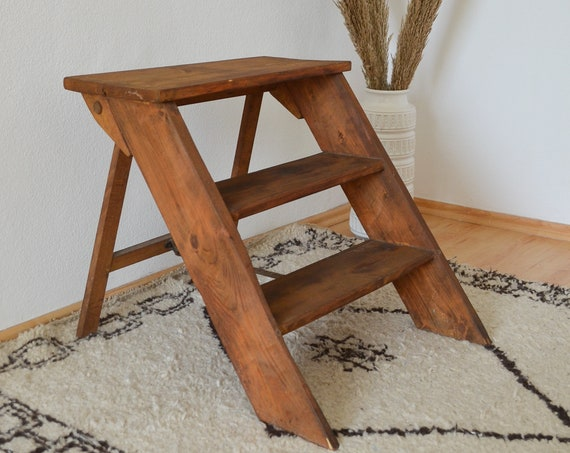 Vintage step ladder ladder wooden brown kitchen ladder wood ladder ladder wood