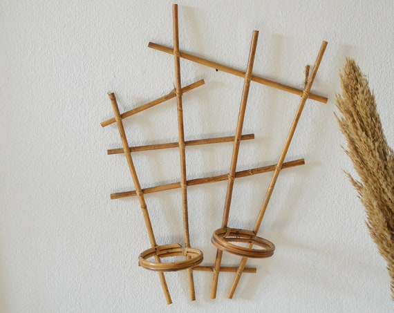 Rattan bamboo wall plant holder vintage wall planter plant stand wicker boho 1970
