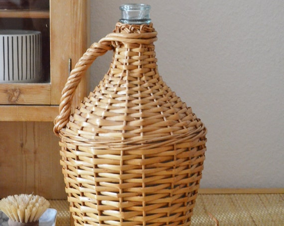 Mid century vase beige rattan bottle handmade balloon bottle