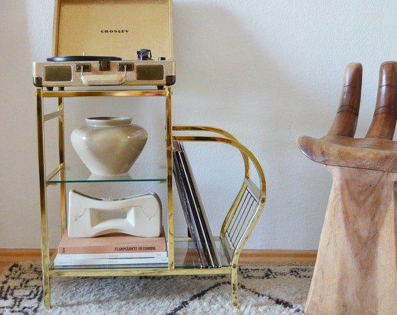 Gold Vintage Record Stand, Side Table Brass with Glass for Turntables, Newspaper Stand
