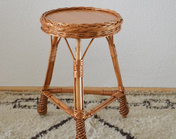 Vintage rattan table boho side table bohemian wicker side table flower stool