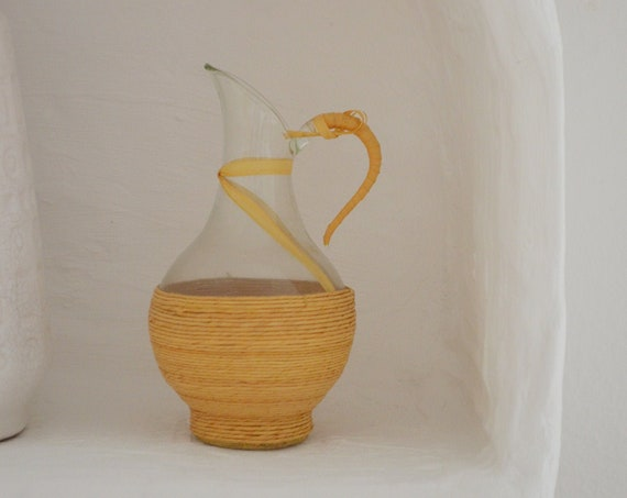 Mid century vase beige rattan straw bottle jug glass handmade