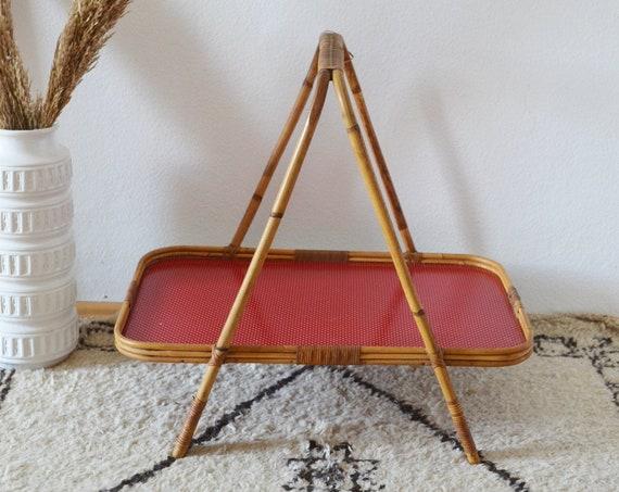 Vintage serving table rattan boho tiki tray tray table side table tray table wicker