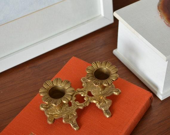 Vintage candlestick brass flowers baroque gold
