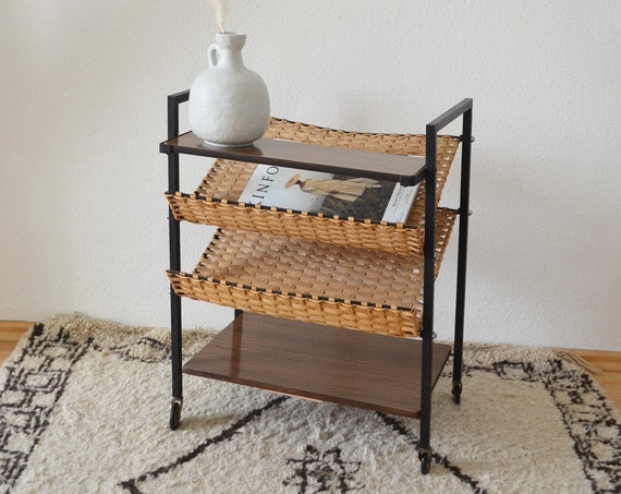 Rattan and black iron record stand side table newspaper stand table rattan boho