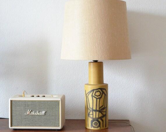 Vintage OKELA Denmark Stoneware ceramic table lamp, beige, black, mid century