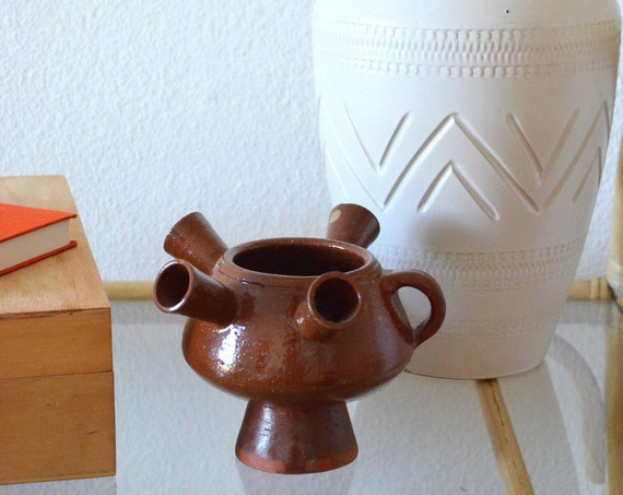 Mid century vase with handle brown handmade