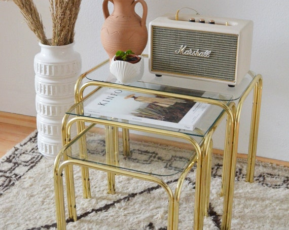 Vintage Messin Table Side Table Set Brass gold glass