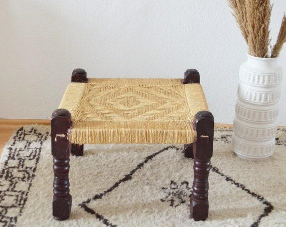 Vintage Macrame Sisal & Wood Stool boho stool wicker mid century