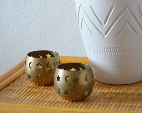 Set of two brass candlesticks moon and stars, tea light holder, candle holder,