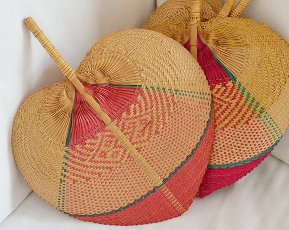 Vintage palm frond hand fan fan rattan boho boheme pink ethno