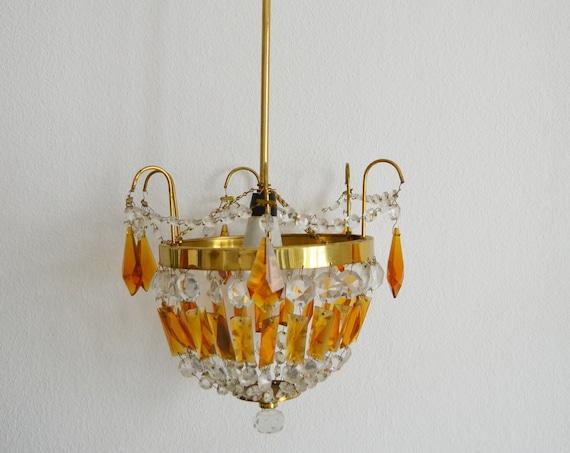Vintage chandelier brass, gold & amber glass rusty orange hanging lamp