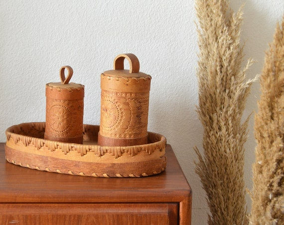 Kitchen set of leather & wood tray and two cans with lid boheme boho bohemian