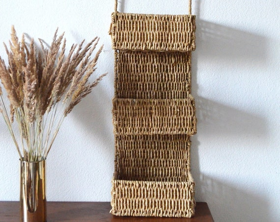 Vintage rattan sisal wall basket wicker wall basket plants planting basket wall planter boho