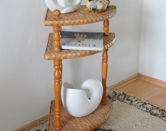 Vintage corner shelf rattan & wood side table wicker boho bookshelf book shelf side table
