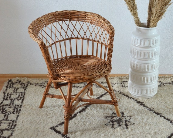 Vintage children's chair chair chair rattan vintage children chair