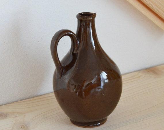 Mid century vase jug brown handmade