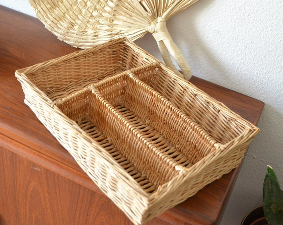 Vintage rattan cutlery box basket bowl vintage wicker cutlery tray boho basket round