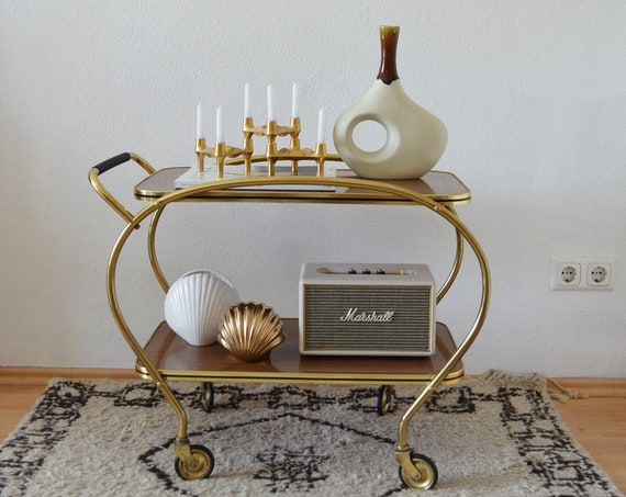 Vintage bar cart tea car gold messing dinet brass bar cart wood mid century side table