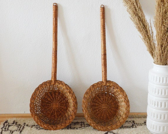 Set of 2 rattan wall baskets Kellen wall basket vintage