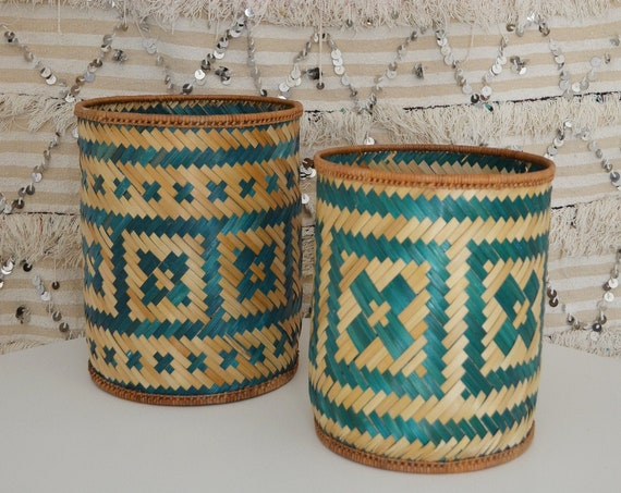 Set of 2 vintage bamboo baskets trash basket wicker rattan basket round round willow braid boho bohemian home
