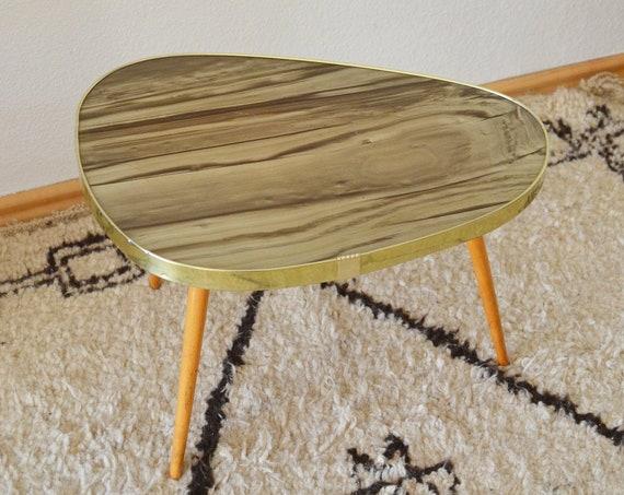 Mid century kidney table beige beige onyx gold brass brass vintage side table teak wood plant stand