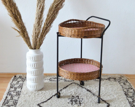 Vintage Rattan Barwagen Mid century bar cart black round tea trolley serving trolley side table pink side table 1950s