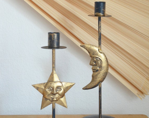 Vintage star and moon candlestick set gold